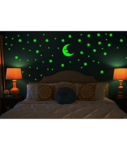 Sticker Moon and 69 Star Glow in the Dark Glowing Sticker High Quality