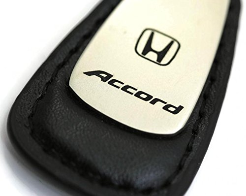 Honda Accord Leather Key Chain Black Rectangular Key Ring Fob Lanyard (Honda Leather Key Fob compare prices)