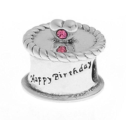 """In argento Sterling 925, con zirconia cubica rosa, con scritta """"Happy Birthday torta Love-Charm per braccialetti stile Pandora, Troll e Chamilia Truly Charming ®"""