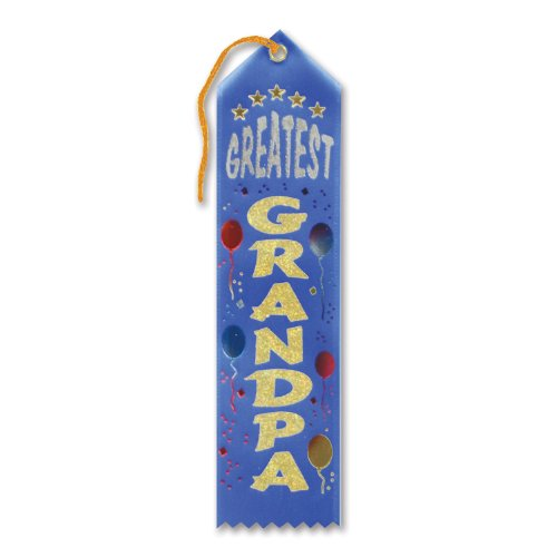 "Greatest Grandpa Award Ribbon (Blue) 2"" x 8"" Party Accessory - 1"