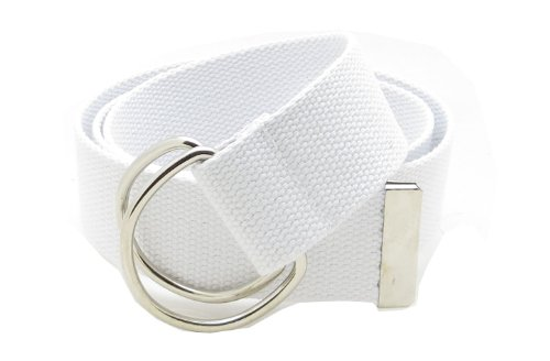 """Canvas Web Belt Double D-Ring Buckle 1.5"""" Wide with Metal Tip Solid Color (White XL)"""