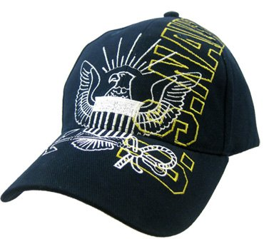 U.S. Navy Anchor Seal Vertical Name Embroidered Hat - Adjustable Buckle Closure Cap