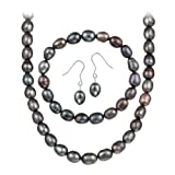 41YBBGpUAzL. SL160  Sterling Silver Freshwater Cultured Peacock Pearl 3 piece Jewelry Set