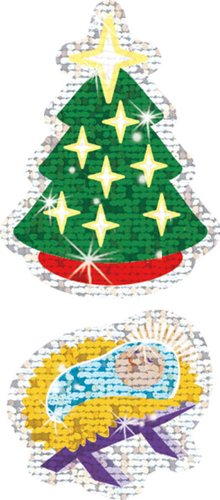 21 Pack TREND ENTERPRISES INC. CHRISTMAS SYMBOLS SPARKLE STICKERS