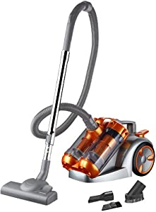 Puregadgets Vortex Extreme Power 3000 Watt 5 Litre Bagless Dual Cyclone Cyclonic Cylinder Vacuum Cleaner Hoover in a gorgeous Pilani Lamborghini Orange Colour Perfect for Animal Dog Cat Hair Fur