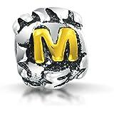 Bling Jewelry 925er Sterling-Silber Buchstabe M Buchstabe Charm Bead Passend zu Pandora