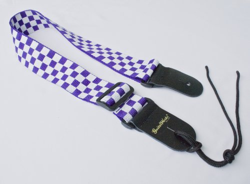 Guitar Strap Purple & White Checkerboard Nylon With Solid Leather Ends & Tie Lace For Acoustic Electric Or Bass Quality Made In U.S.A. Fast Shipping & Handling