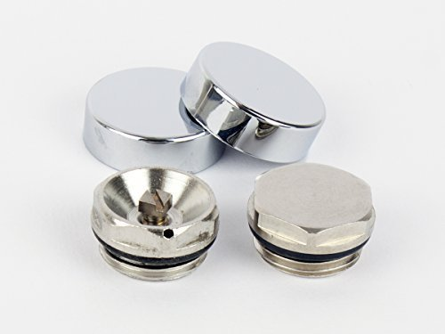 Two Chrome Cover Cap for Towel Rail Radiator blanking plug and air vent / Bleed valve