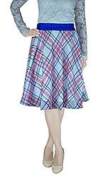DeeVineeTi Checkered Women's Gathered Skirt, White (28)