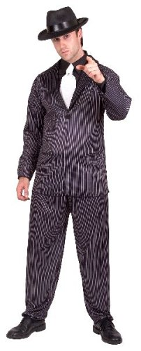 Smiffy's Men's Gangster Costume Pinstripe Jacket and Trousers