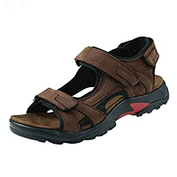 iLoveSIA Mens Athletic and Outdoor Leather Sandals Brown US Size 9.5