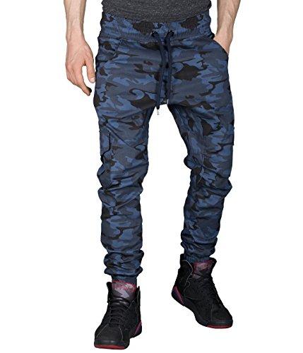 BetterStylz -  Pantaloni  - Uomo Blue Camouflage Large
