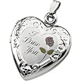 St. Silver Tri Color I Love You Heart Shaped Locket 20x19mm - JewelryWeb