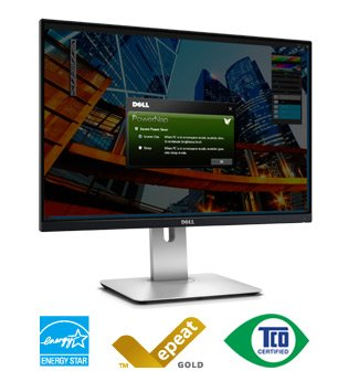 "Dell Ultrasharp 24"" Monitor W/Height, Swivel, Tilt Adjustable Stand & Usb 2.0 Ports"