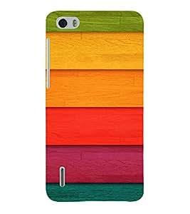 PrintVisa Colorful Wood Pattern 3D Hard Polycarbonate Designer Back Case Cover for Huawei Honor 6