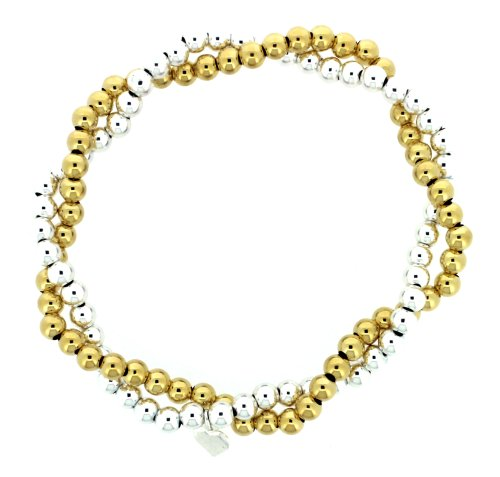 Silver and Silver Gold Plated Overlap Bead Bracelet