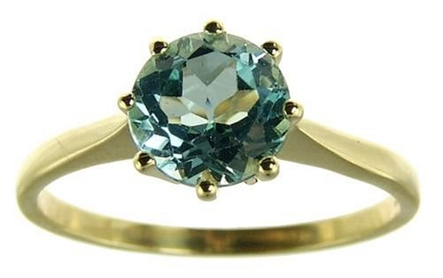 9ct Yellow Gold Ladies 7mm Blue Topaz Solitaire Ring