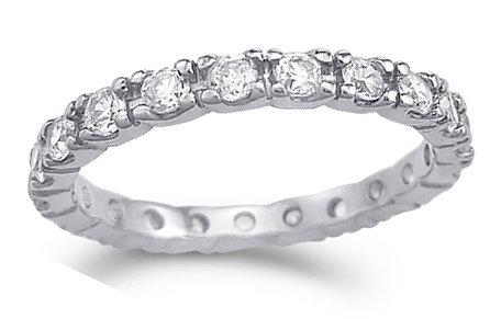 CZ Eternity Wedding Ring 14k White Gold Anniversary Band (1.00 Carat), Size 8