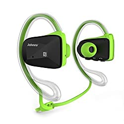 Jabees BSport Bluetooth Sweatproof Sports Headphone(Green) with Removable clear earphone and cable cinch for secure fit and with Built-in microphone for iPhone/iPad/iTouch/Samsung/HTC and Other Smart Phones Tablets with iOS/Android/Window for Wireless Music and Call