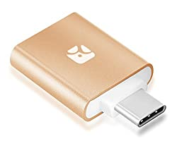 Dash Micro G3 Type-C: Mini MicroSD Card Reader with USB Type-C Plug, keychain case included, Gold, for Nexus 6P/5X, Macbook 2015, LG G5, and others