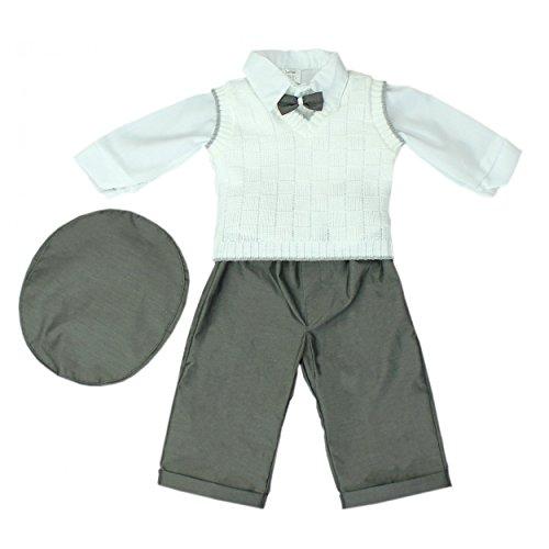 Baby Taufanzug 5-tlg. Set Anzughose Langarm-Hemd Weste Mütze Fliege Taufkleidung Jungen Anzug, Farbe: Graphit, Größe: 86