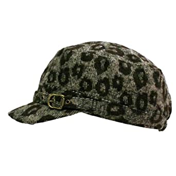 Luxury Divas Brown & Gray Leopard Animal Print Newsboy Hat