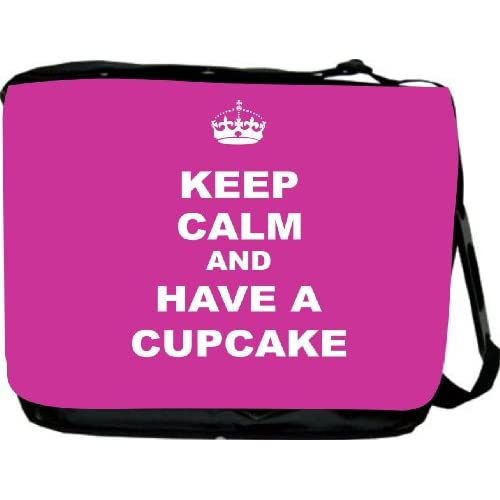 RikkiKnight Keep Calm and have a Cupcake   Pink Rose Messenger Bag   Book Bag ***with matching coin purse wallet***  School Bag   Reporter Bag