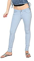 Carrel Bring In Bottom Zip Skinny Jeans Stretchable Denim Light Sky Colour For Womens