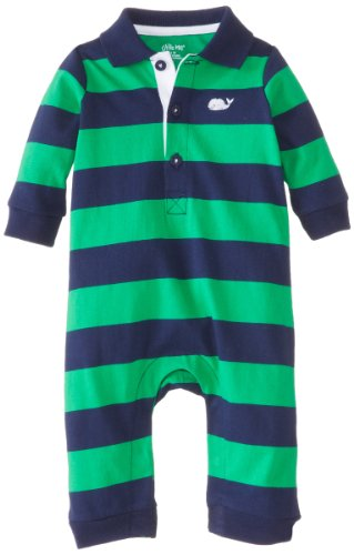 Little Me Baby-Boys Newborn Whale Coverall, Navy Stripe, 6 Months