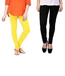 Ceil Women's Soft Cotton Leggings (Pack Of 2) (LL 1009_Black Yellow_Free Size)