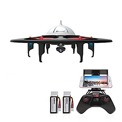 DBPOWER UDI U845 WiFi FPV UFO Quadcopter Drone with HD Camera 2.4G 4CH 6 Axis Gyro RTF Low Voltage Alarm, Gravity Induction and Headless Mode Includes Bonus Battery