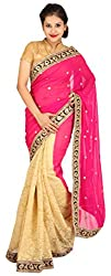 Kasturi Sarees Basement Women's Faux Fur Saree (Multi-Coloured)