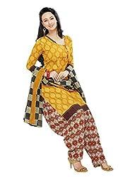 RK Fashion Womens Cotton Un-Stitched Salwar Suit Dupatta Material ( Rajguru-Ganpati-5017-Yellow-Free Size )