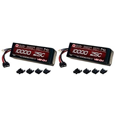 Venom 25C 2S 10000mAh 7.4V LiPo Battery with Universal Plug (EC3/Deans/Traxxas/Tamiya) x2 Packs