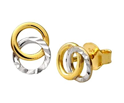 Luisant 9ct Yellow and White Gold Diamond Cut Circle Stud Earrings