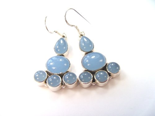 Beautiful Things For Women Blue Chalcedony Gemstone Stamped 925 Sterling Silver Drop Earrings 4.8 cm in length and each earring weighs 5 g