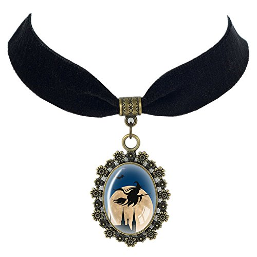 Paialco Halloween Antique Alloy Oval Glass Pendant Black Velvet Ribbon Choker Necklace, Witch On (Creepy Witch Costume)