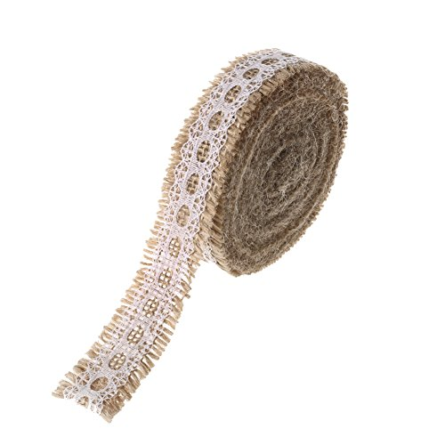 "Ling's moment Burlap Ribbon Roll Lace Trims, 1"" x 5 Yards"