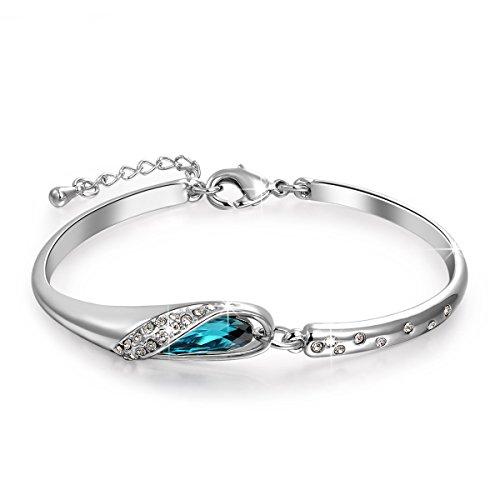 Blue SWAROVSKI ELEMENTS Crystal Bangle Bracelet White Gold Plated Fashion  Women Jewelry Gifts cea68fbde4