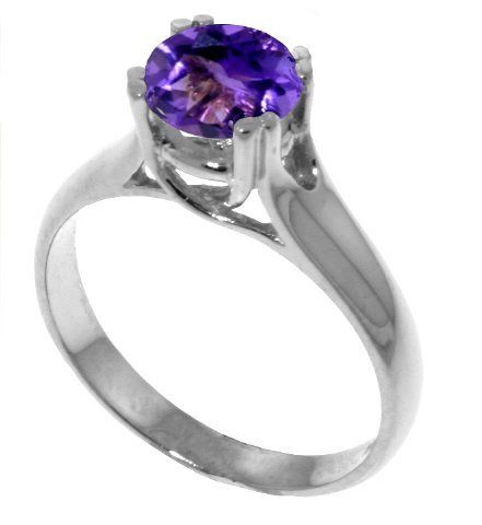 Genuine 1.1 Carat (ct, cttw, ctw) Round Amethyst .925 Sterling Silver Solitaire Engagement Ring