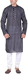 Kisah Men's Handloom Cotton Kurta (KA-S-045K-38_Black_38)