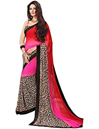Vivera Superb Printed Georgette Saree With Blouse Piece