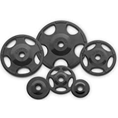 Buy Hampton Fitness 255 lb International Olympic Rubber Grip Plate Set with Spring Collars by Hampton