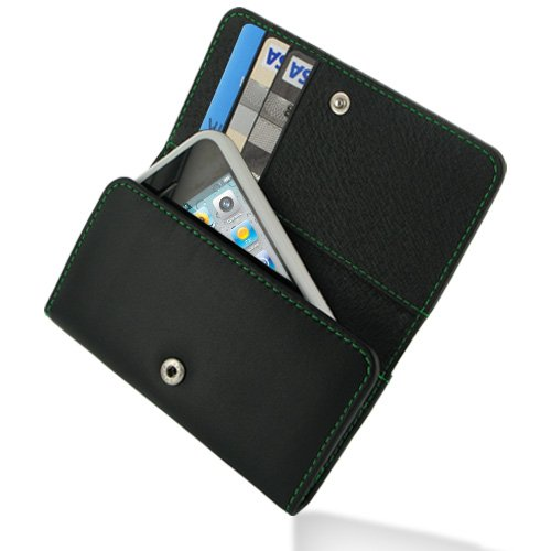 PDair Leather Wallet for Apple iPhone 4 4S (Black/Green Stitchings)