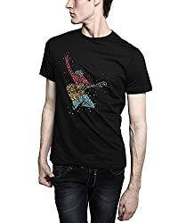 TOMO Men's Cotton Black Color Round Neck IROCK Printed T-shirt