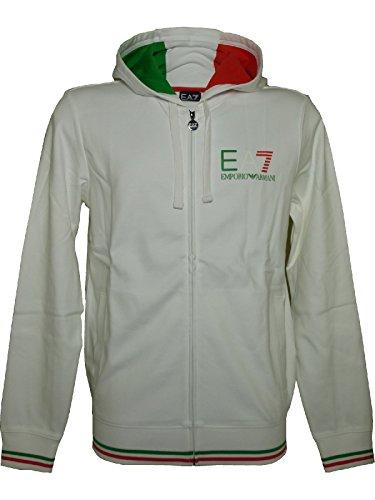 Felpa EA7 Emporio Armani 7 ea bianco uomo 274656 cappuccio italia zip tricolore - Taglia S