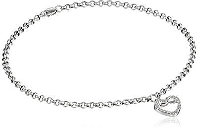 "14k White Gold and Diamond Ankle Bracelet (1/10 cttw, H-I Color, I2-I3 Clarity), 9.5"""