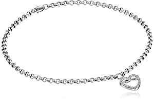 14k White Gold Open Heart on Rolo Chain Anklet, 9.5
