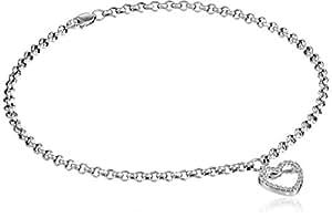 Amazon.com: 14k White Gold and Diamond Ankle Bracelet (1 ...