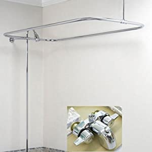 Add On Shower for Clawfoot Tub includes Rectangular Shower Rod by addonw-aluminrec